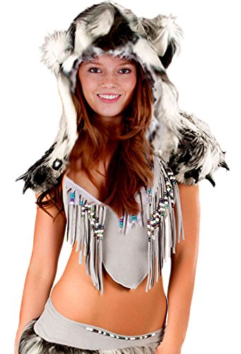 Sexy Kostüme Pocahontas (erdbeerloft - Damen Kostüm- Indianerin Faschingskostüm Fellkostüm Plüsch, Stulpen Kapuze, grau,)