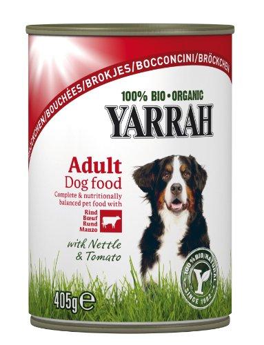 Yarrah Bröckchen Huhn, Rind, Brennessel, Tomate 405g Bio Hundefutter, 6er Pack (6 x 0.405 kg)