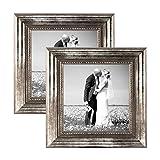 PHOTOLINI 2er Set Bilderrahmen 10x10 cm Silber Barock Antik Massivholz mit Glasscheibe und Zubehör/Fotorahmen/Barock-Rahmen