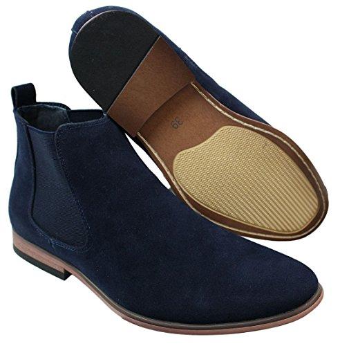 Bottines Chelsea homme simili daim sans lacets design italien style mi-chevilles chic décontracté Bleu Marine