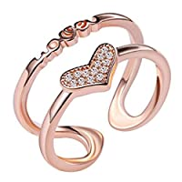 MSYOU Ring Open Elegant Ring Creative Love Heart-shaped Style Temperament Ring Girls Girls Jewelry Gifts Birthday Holiday