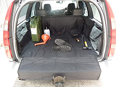 XtremeAuto® HEAVY DUTY CAR BOOT LINER WITH TOOL POCKET, AND EXTENDED BUMPER FLAP. For estate cars.