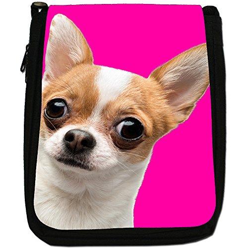 Ultra Cute Chihuahua Close Up Medium Nero Borsa In Tela, taglia M Pink Background Chihuahua