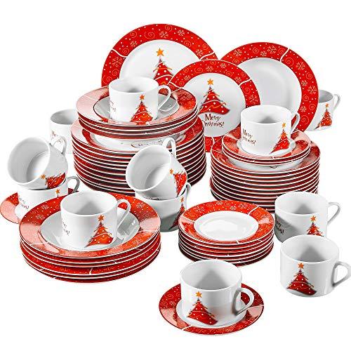 flirt geschirr weihnachten VEWEET, Serie Christmastree, 60-teilig Set Tafelservice, Geschirr Set für 12 Personen, Kaffeeservice für Weihnachten, Geschenk