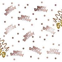 Oblique Unique® Happy Birthday Geburtstag Konfetti Roségold mit Punkten Tisch Deko über 300 Stück