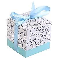 Jouet 50 pcs fête d'anniversaire d'anniversaire d'anniversaire de mariage Forme carrée Chocolat Candy Sucre Boîtes Cadeau avec ruban ab90b4