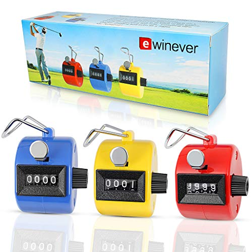 ewinever 3er Pack Handheld Tally Zähler 4-stellige Mechanische Palm Clicker, Anzahl Zähler/Kannen Noten Counter/Crochet Stitch Marken und andere Sport Event -