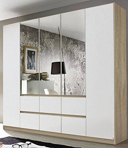 Rauch AC034.5213 Kleiderschrank Mainz 5-türig/mittig Spiegeltüren, griffloses Design/B 226 H 210 T 54 cm/Korpus: Eiche Sonoma, Fronten: Alpinweiss