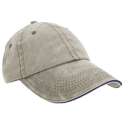 Result Washed Fine Line Cotton Baseball Cap With Sandwich Peak (One Size) (Putty/Navy)