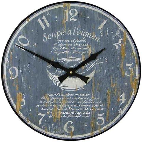 Roger Lascelles - Orologio in legno da parete, motivo: ricetta zuppa di cipolle [Lingua francese]