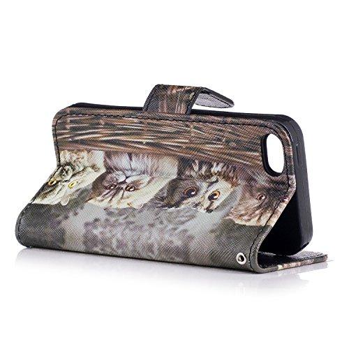 Custodia iphone SE / 5 / 5S Cover ,COZY HUT Flip Caso in Pelle Premium Portafoglio Custodia per iphone SE / 5 / 5S, Retro Animali di cartone animato Modello Design Con Cinturino da Polso Magnetico Sna Gatto fumetto