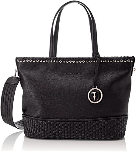 Tote Bag Jeans (Trussardi Jeans Damen Mimosa Smooth Ecoleather Tote Bag Schwarz (Black), 17x46x42 centimeters)