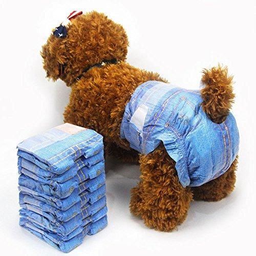 Pet Weiche weiblich Windeln Super Saugfähig Denim Jeans Pet Einweg-Windel Cowboy Stil Puppy Hund Windel 3Staubbeutel 24
