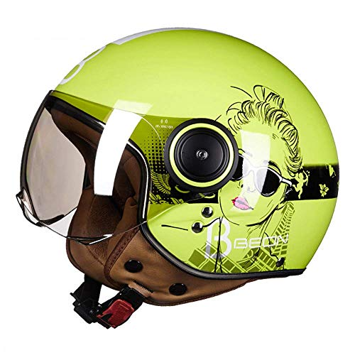 WSYY-helmet Casco Moto Casco Integrale Casco Harley Retro D.O.T Casco Scooter Vespa Cruiser Certificato Four Seasons,M(54~56cm)