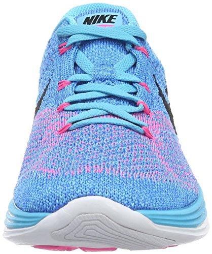 Nike Flyknit Lunar3, Chaussures de Running Compétition Femme Bleu (Gamma Blue/Black Pht Bl White)