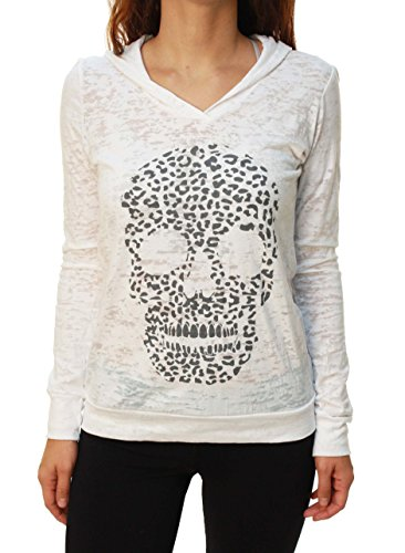 Outlaw Threadz Frauen Leopard Burnout Sheer Hoodie (Burnout-leopard)