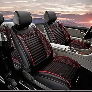 Jiahe Auto Sitzbezüge Für Seat Ateca Arona Ibiza Leon Mii Autoschonbezüge 5 Sitz Mit Seiten Airbag Öffnungen Universal Wasserdicht Staubdicht Schwarz Rot Standard Auto