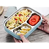 YFXOHAR Stainless Steel Lunch Box For School Lunch Bento Containers Rectangle Cartoon 3 Compartments Kids Containers For Food Storage With Spoon And Fork Spoon