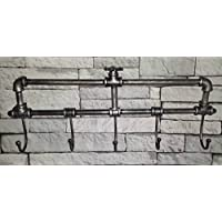 Garden Mile® Distressed Metal Industrial Pipe Work Novelty Coat Rack Towel Rail. Retro Urban Chic 5 Peg Wall Mounted Bedroom Hall Bathroom Towel Rail