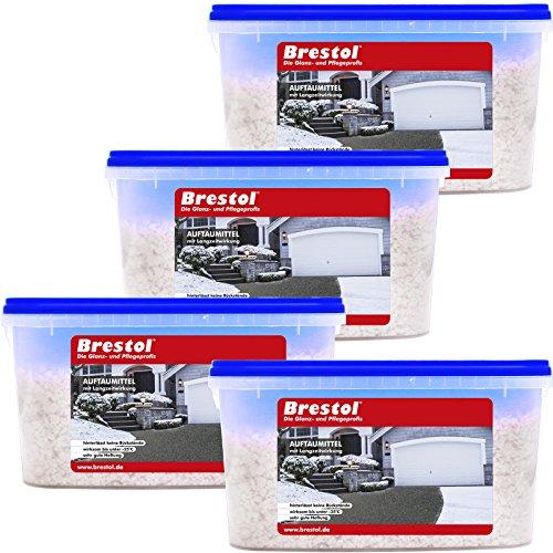 Brestol, Set di 4 prodotti antigelo (4 x 5 kg), con effetto a lungo termine, – -efficace su neve e ghiaccio, al cloruro di calcio