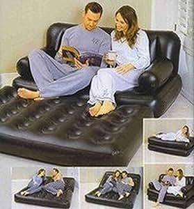 matelas gonflable 5 en 1 divan canap lit d 39 appoint 2 personnes cuisine maison. Black Bedroom Furniture Sets. Home Design Ideas