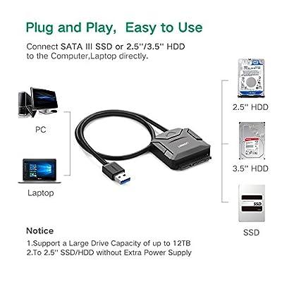 UGREEN Adaptateur USB 3.0 Câble vers SATA III II I Disque Dur 2.5 Pouces HDD SSD 6To Max Supporte SATA III SSD UASP de Ugreen Group Limited
