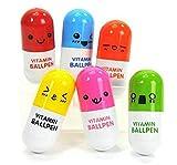 Westeng capsula pillola penna a sfera penna retrattile creativo cute Cartoon Expression, confezione da 6