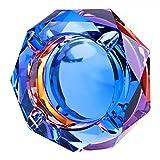 Nugoo Kristall-Aschenbecher, bunt, für drinnen und draußen, Glas, dekorativer Aschenbecher für Zuhause und Büro (Bling 01)