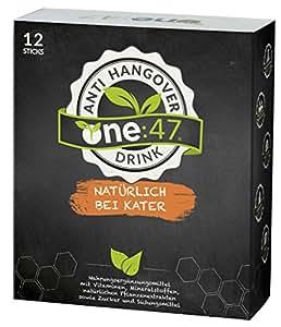 one:47 ® Anti-Hangover-Drink | 12 Sticks | NEU & PATENTIERT | hochkonzentriert & vegan | Natürlich bei Kater | hochkonzentrierte Elektrolyte und Pflanzenextrakte Ginkgo, Weidenrinde, Ingwer, Kaktusfeige, Acerola | Mineralien Magnesium, Zink, Natrium | plus 4 hochkonzentrierte Vitamine B1, B2, C, Folsäure | aus Deutschland | bei Alkoholkonsum | Anti-Hangover-Sticks one47