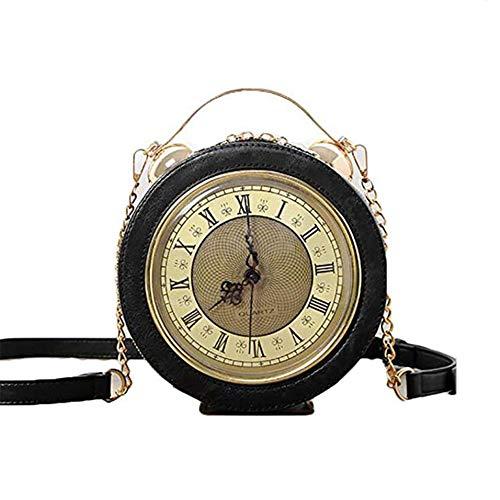 Lxmhz Uhr Tasche Real Working, Vintage Messenger-Tasche, Steampunk Style Handtaschen-Kette Shoulder Female Tasche,Black