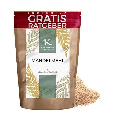 Mandelmehl natur 500g   Premium fein gemahlene Mandeln naturbelassen Krautberger Superfood ohne Zusätze inkl. gratis Ratgeber Low Carb Food hochwertig