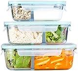 Rosenstein & Söhne Glasdosen: 3er-Set Glas-Frischhaltedosen, Klick-Deckel, 2 Kammern, -40 bis 450 °C (Lunchbox)