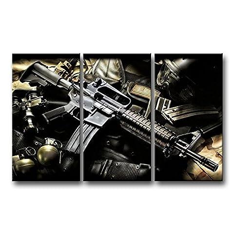 3pièces Noir et Blanc Art mural Photo à la main longue portée Fusil Impressions sur toile images à la durabilité à l'huile pour Home Décor Imprimé moderne Décoration
