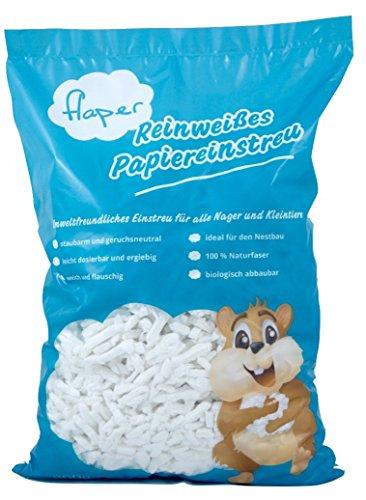 FLAPER - Reinweißes Papiereinstreu aus Zellstoff (10L), für alle Nager wie Kaninchen, Meerschweinchen, Hamster und andere Kleintiere, geeignet für Allergiker, staubfrei, ergiebig