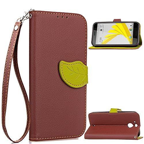 FindaGift HTC 10 evo Hülle, Leaf Design PU Leather Hülle Kartenschlitz Schützend Cover mit Magnetic Closure Stoßfest Anti-Kratzer Case für HTC 10 evo Braun