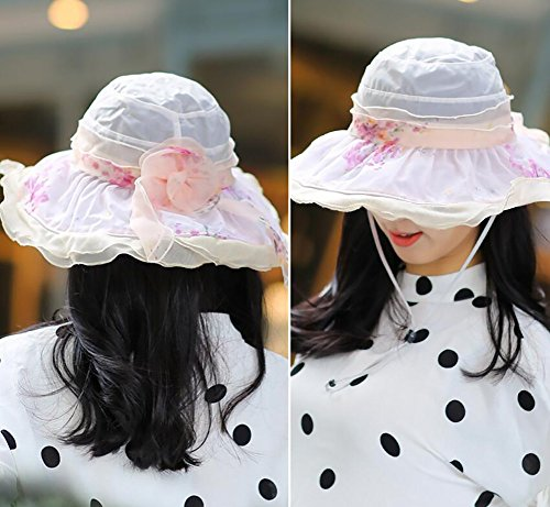 HWTYM Sun Hat Summer Women's Beach Travel Chapeau de pliage pliant Large Wide Brim Protection UV Outdoor Sun Hat ( Couleur : 4* ) 1*