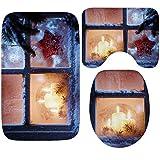 Knbob Badematte Set 3Teilig Eisfenster Kerzenlicht Stil 6-Klein Wc Matte Bunt 60X40Cm
