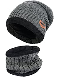 95fd56a8e8d884 Vbiger Warm Knitted Hat and Circle Scarf Skiing Hat Outdoor Sports Hat Sets