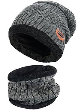 [Patrocinado]Vbiger Gorras Con Bufanda y Gorros de punto Sombreros de Invierno Hombre