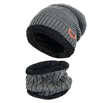 Vbiger Cappello Uomo invernale Berretto Uomo in Maglia con sciarpa (Grigio)