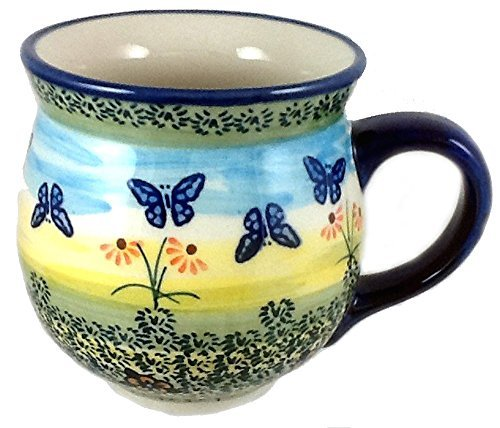 polish-pottery-large-16-ounce-bubble-mug-wkm-flutterby-butterflies-by-poughkeepsie-polish-pottery-mo