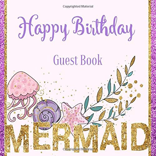 Book Mermaid: Under the Sea Ocean Purple Pink Glitter Theme | Little Girl Sign in Celebration Party Memory Keepsake Anniversary Guestbook with Gift Log and Photos ()