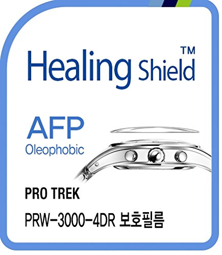 Healing shield Protectores de Pantalla Oleophobic AFP Clear Film for Casio Watch Protrek PRW-3000-4DR [Front 2pcs]