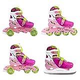 Inline Skate Inlineskating Schlittschuhe Rollschuhe verstellbar Kinder 4in1 NH18330 (rosa, M)