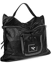 Handtasche Hobo Bag Beuteltasche Stern Nieten Papierleder