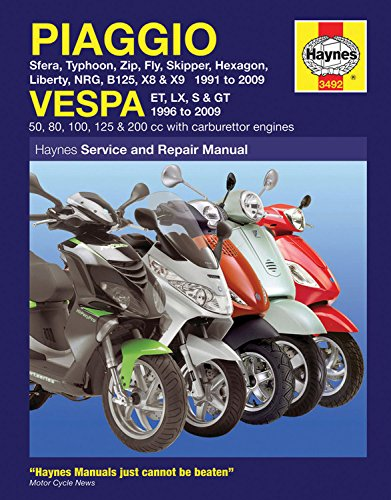Piaggio and Vespa Scooters (with Carburettor Engines) Service and Repair Manual: 1991 to 2009 (Service & repair manuals)