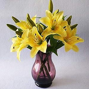 Flores artificiales de lirio, 5 unidades, decoración de bodas, fiestas, látex de PVC, tacto real, flores artificiales en jarrón amarillo