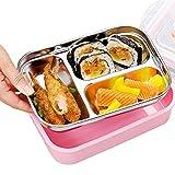 JIAYIBAO Bento Box Edelstahl Student Rechteckig Grün Versiegelte Isolierung 3 Farbe Lunchbox Doppelschicht (Farbe : Pink)
