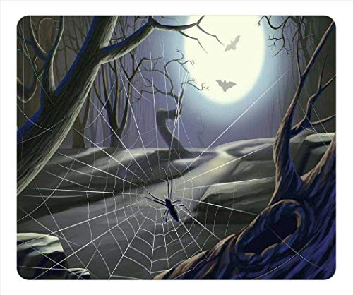 Personalisierte Einzigartige Design längliche Geformte Mauspad Spinnennetz Vollmond Hallowmas Halloween