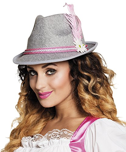 erdbeerloft - Bayrischer filzartiger Hut mit Feder, Edelweiß und Kordel Kostüm, Grau Rosa